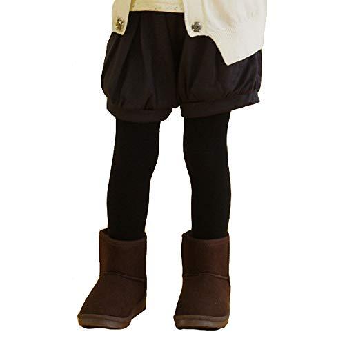 Kids Girls Winter Fleece Lined Legging Tights Gift Box Black White Lt. grey (Plain fleece Lt.grey, S)