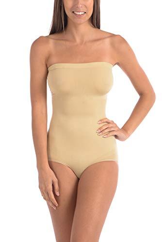 Body Beautiful Seamless Strapless Bodysuit Shaper Nude 2X/3X