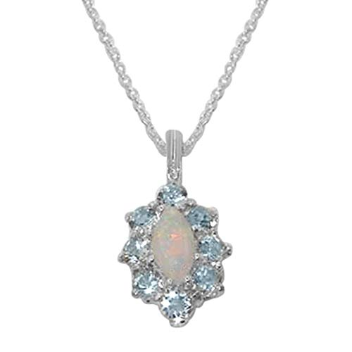 Ladies Solid 925 Sterling Silver Natural Opal & Aquamarine Cluster Pendant Necklace