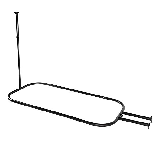 Utopia Alley Rustproof Hoop Shower Rod for Claw Foot Tubs (Black)