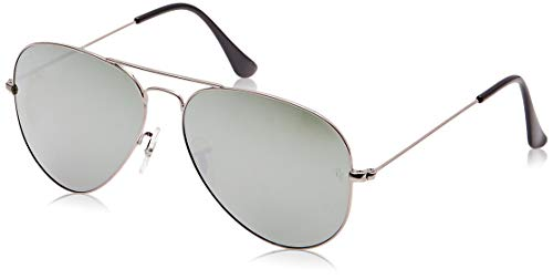 Ray-Ban RB3025 Aviator Classic Flash Mirrored Sunglasses, Matte Gunmetal/Silver Flash, 55 mm