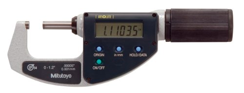 Mitutoyo 293-676 QuantuMike Coolant Proof LCD Micrometer, IP54, Friction Thimble, 0-1.2''/0-30.48mm Range, 0.00005''/0.001mm Graduation, +/-0.0001'' Accuracy by Mitutoyo