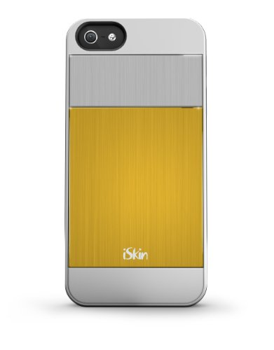 iSkin ARIPH5YW6 Aura Cell Phone Case for iPhone 5 - 1 Pack - Retail Packaging - Blue Yellow ()