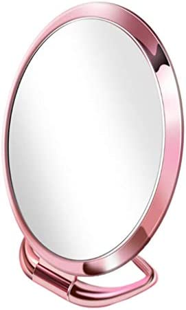 折りたたみ 化粧ミラー 化粧鏡 卓上ミラー スタンドミラー 3倍拡大 両面鏡 自宅 オフィス 旅行 屋外 全9種 - ピンクラウンド
