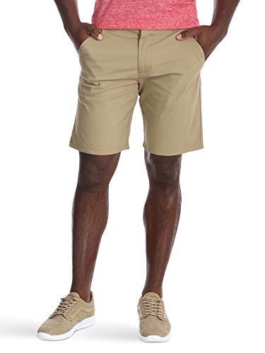 (Wrangler Authentics Men's Performance Comfort Flex Flat Front Short, Dark Khaki 38)