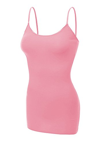 Emmalise Clothing Women's Basic Casual Plain Long Camisole Cami Top Tank, Pink, - Camis Basic Pink