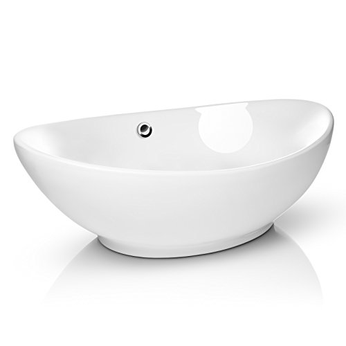 "Miligore 23"" x 15"" Oval White Ceramic Vessel Sink - Modern Egg Shape Above Counter Bathroom Vanity Bowl"