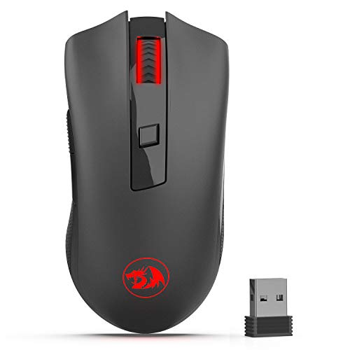 Redragon M652 Optical 2.4G Wireless Mouse with USB Receiver, Portable Gaming & Office Mice, 5 Adjustable DPI Levels, 6 Buttons for Desktop, MacBook, Notebook, PC, Laptop, Computer