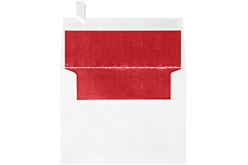 (A2 (4 3/8 x 5 3/4) - White w/Red LUX Lining w/Peel & Press - White w/Red LUX Lining (50 Qty.) | Perfect for the HOLIDAYS, RSVP Cards, Invitations, Announcements, Notes, and More! |FLWH4870-01-50)