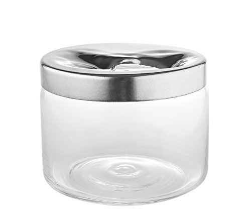 Alessi ''Carmeta'' Cookie Jar in Glass With Lid in 18/10 Stainless Steel Mirror Polished, Silver by Alessi