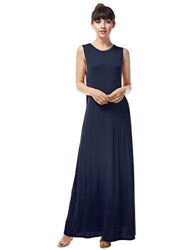 LA BASIC Women's Round Neck Rayon Jersey Maxi Dress NAVY 1XL