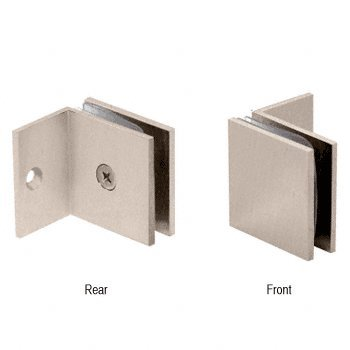 CRL Brushed Nickel Fixed Panel Square Clamp With Small Leg by CR Laurence Fixed Panel