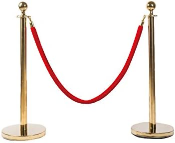 ポールパーテーション ガイドポール 赤ロープ付 ゴールド