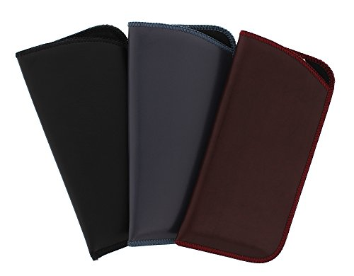 3 Pack Assortment, Soft Faux Leather Slip in Eyeglass Case Pouch, Fits Medium to Large Frames, in Black, Burgundy, and Gray from Ear Mitts