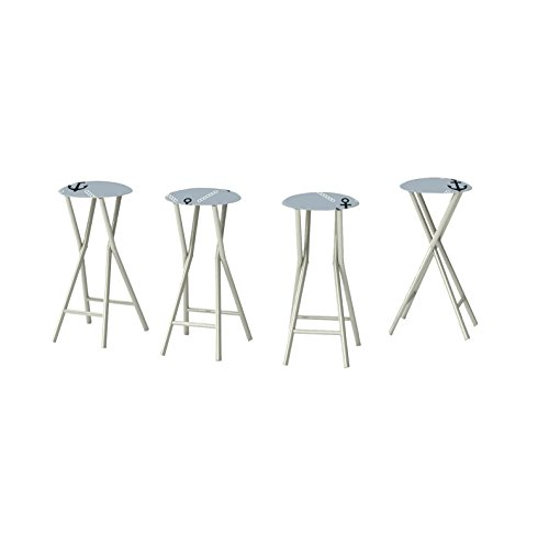 Best of Times Anchors Away Padded Bar Stools (Set of 4), Navy/Grey Review