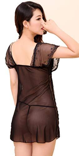 Camicie V Fionda Alto Push Deaman Vestaglie Kimono Nero e notte Collo Donna da Pizzo up Fasciante Grado AFf1q