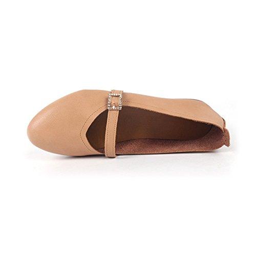 Damen Ballerinas Schuhe Schnalle Kleid Gelb Flach Rund OCHENTA 7Uwqw