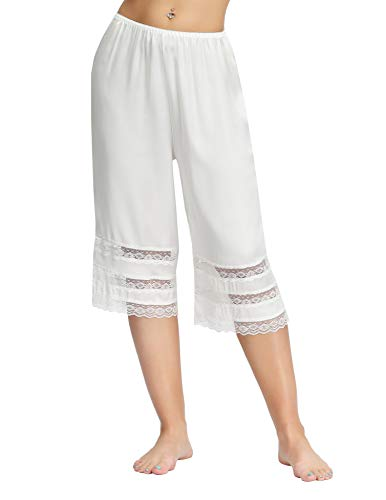 Sheer Lace Trim Culotte Slip Bloomers Split Skirt Undergarment (M, White)