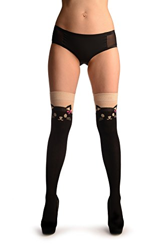 Hot Cat With Pink Bows On Beige & Black - Over The Knee Socks