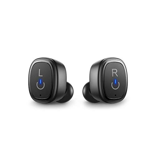 Linklike Quad Dynamic Drivers Bluetooth 5.0 True Wireless Earbuds w/ Deep Bass Fast Pairing 30H Charging Case Button Controls Dual Mic, IP67 Waterproof Noise Isolating Earphones - Black