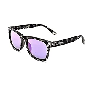 Zoo York Men's Rectangular Sunglasses, Matte White Tortoise Frame, Smoke Purple Mirror Lens, 52mm