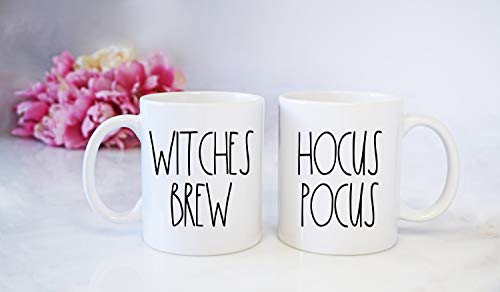 Dason Inspired Hocus Pocus and Witches Brew mug set Halloween coffee cups witchs ink printed sale -