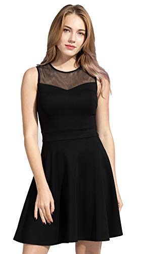 Sylvestidoso Women's A-Line Sleeveless Pleated Little Black Cocktail Party Dress (L, Black)