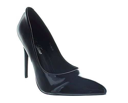 Material Heels Shoe Toe Urban Patent Pointed Metalic Suede Black Pumps Cleo1 Women's wE6Ydqf