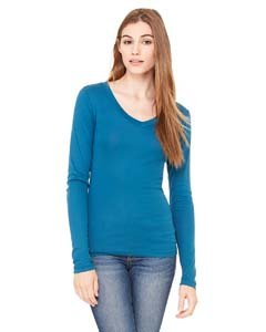 (Bella Sheer Rib Long Sleeve Longer Length V-Neck T-Shirt - Deep Teal B8750 M)