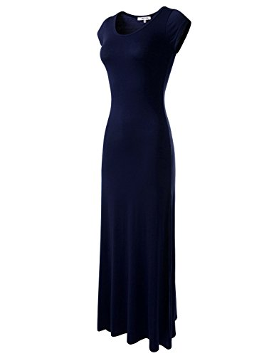 NEARKIN (NKWLD04271 Attractive Women Casual Unbane Figure Hugging Maxi Dress Navy US XL(Tag Size -