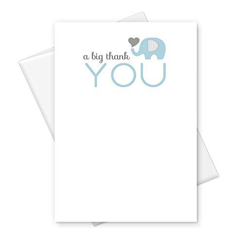Elephant Thank You Card Boys Baby Shower Blue Stationery Set of 25