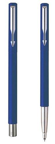 Large Roller Ball Pen (PARKER VECTOR STANDARD ROLLER BALL PEN CHROME TRIM - BLUE)