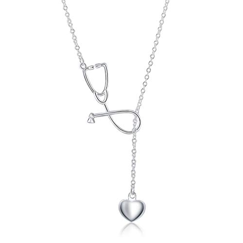 Charms Wedding Silver Plated Women Necklace Doctors Stethoscope Lariat Jewelry Cute Nice Lady Gift Silver Plated]()