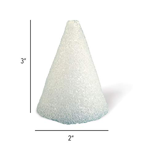 Hygloss Products Styrofoam Cones - 3 Inch White Cones for Floral Arrangements and Projects, 12 Pack -