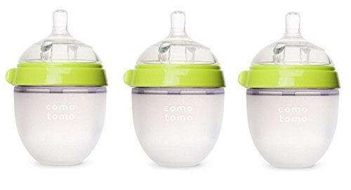 Comotomo Natural Feel Baby Bottle 3 Pack (Green, 5ozx3) (Comotomo Baby Bottles compare prices)