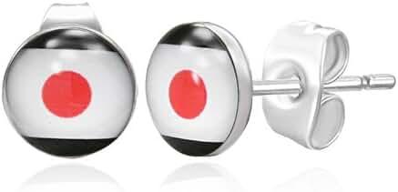 7mm Stainless Steel Japanese Flag Small Stud Earrings