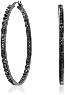 Bling Jewelry .925 Silver Simulated Onyx CZ Black Eternity Hoop Earrings