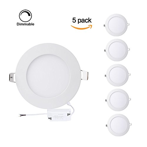 8' Trim Kits Recessed Lighting -  ProGreen Pack of 5 Units 12W Flat LED Panel Light, Dimmable Round Ultrathin LED Recessed Downlight, 960lm, Warm White 3000K, Cut Hole 6.1 Inch, Panel Ceiling Lighting with 110V LED Driver