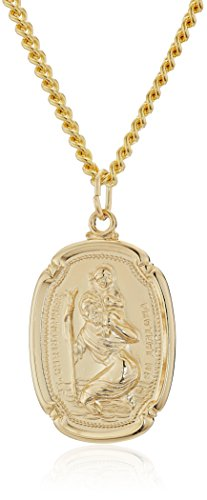 Men's 14k Gold Filled Rectangular Saint Christopher Medal with Gold Plated Stainless Steel Chain Pendant Necklace, - Saint Gold