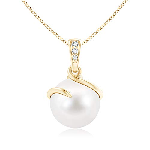 - Freshwater Cultured Pearl Spiral Pendant with Diamonds in 14K Yellow Gold (10mm Freshwater Cultured Pearl)