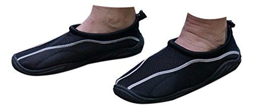 Schwarz / Grau Herren Aqua Schuhe für Pool, Strand, Bootfahren, Schwimmen und Surfen schnell trocken