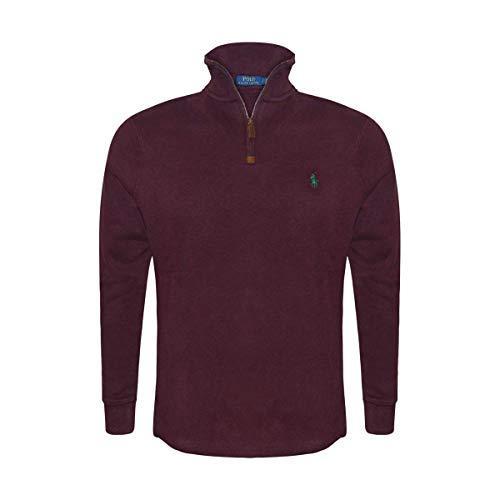 Polo Ralph Lauren Men's Half Zip French Rib Cotton Sweater (Small, Classic Wine) -