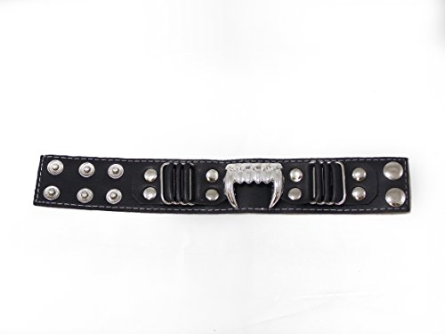 Awesome Soft Feel Leather Fang Button Bracelet by The Gothic King Of The Universe