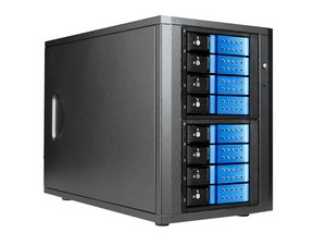 8-bay 3.5'' SAS/SATA 6.0 Gb/s eSATA Trayless Hotswap Tower Blue by iStarUSA
