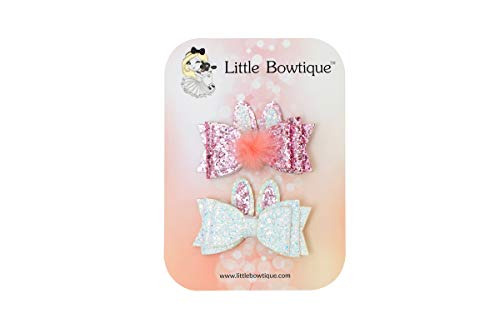 Little Bowtique Easter Hair Bows for Girls, Pack Of 2 – Glitter Bows With Bunny Ears for Baby, Toddler and Little Girls – 3.25 Inch Lightweight Alligator Clip Hairpins Accessories