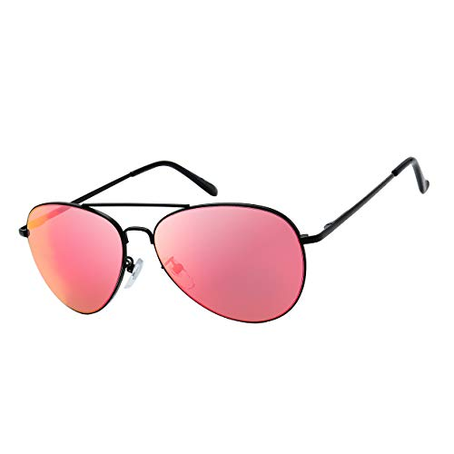 The Fresh Classic Large Metal Frame Mirror Lens Aviator Sunglasses with Gift Box (Black (Spring Temple), RED)