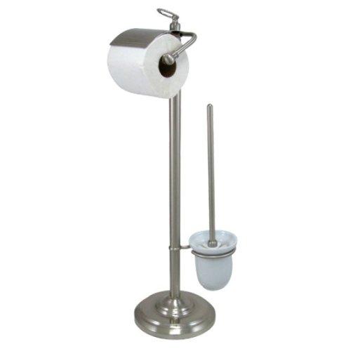 (Kingston Brass CC2018 Pedestal Toilet Paper Holder with Stool Brush Holder, Satin Nickel)