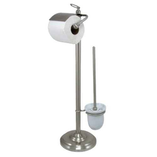 Estate Nickel Toilet Paper Holder (Kingston Brass CC2018 Pedestal Toilet Paper Holder with Stool Brush Holder, Satin Nickel)