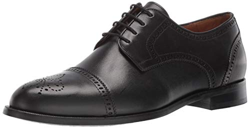 Marc Joseph New York Mens Genuine Leather Kensigton 2 Oxford Lace-Up Wingtip Dress Shoe, Black Nappa, 10 M US