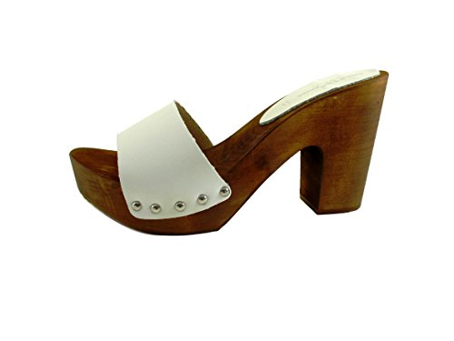 Mujer Piel Zuecos De Blanco Bianco Silfer Shoes Para xOgvwWXP